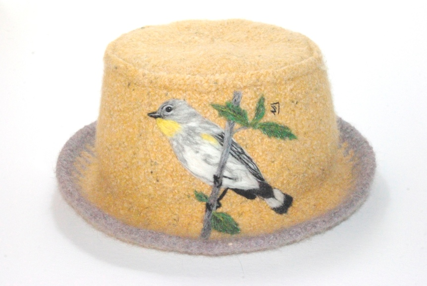 14-015 Hat Audubon's warbler yellow and grey city tweed wool donegal available swbs