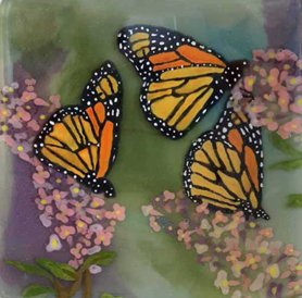 Monarch butterfly painted dish