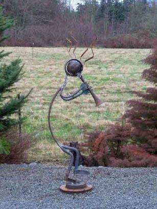 Steve Bryant, Driftwood creations,- kokopelli, for cracked pots