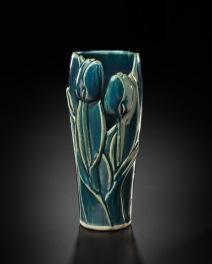 Teal Tulip Vase